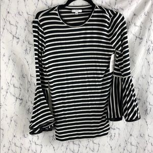 New Stella & dot Maette Bell Sleeve Striped Top